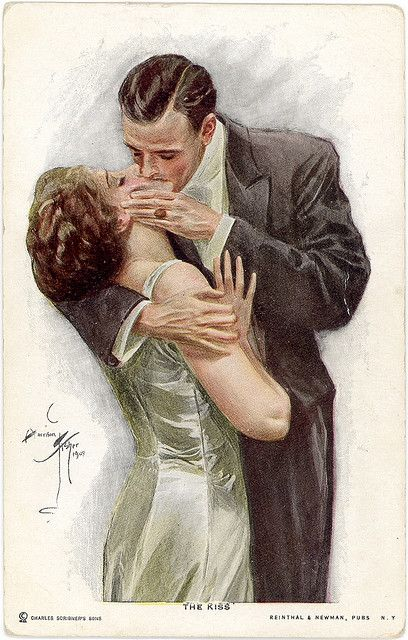 """The Kiss"" ""Harrison Fisher""  ""Vintage Postcard"""