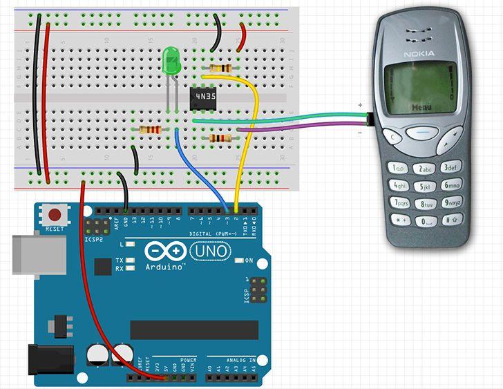 Tutorial: Handy Arduino Hack http://www.arduino-tutorial.de/2014/01/ein-altes-handy-als-arduino-input/