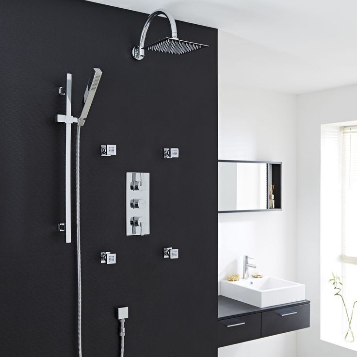 Arco Thermostatic Shower Faucet System Chrome Set Rain Head Handspray 4 Spa Jets #HudsonReed #ShowerFaucetSetShowerPackageShowerSystem