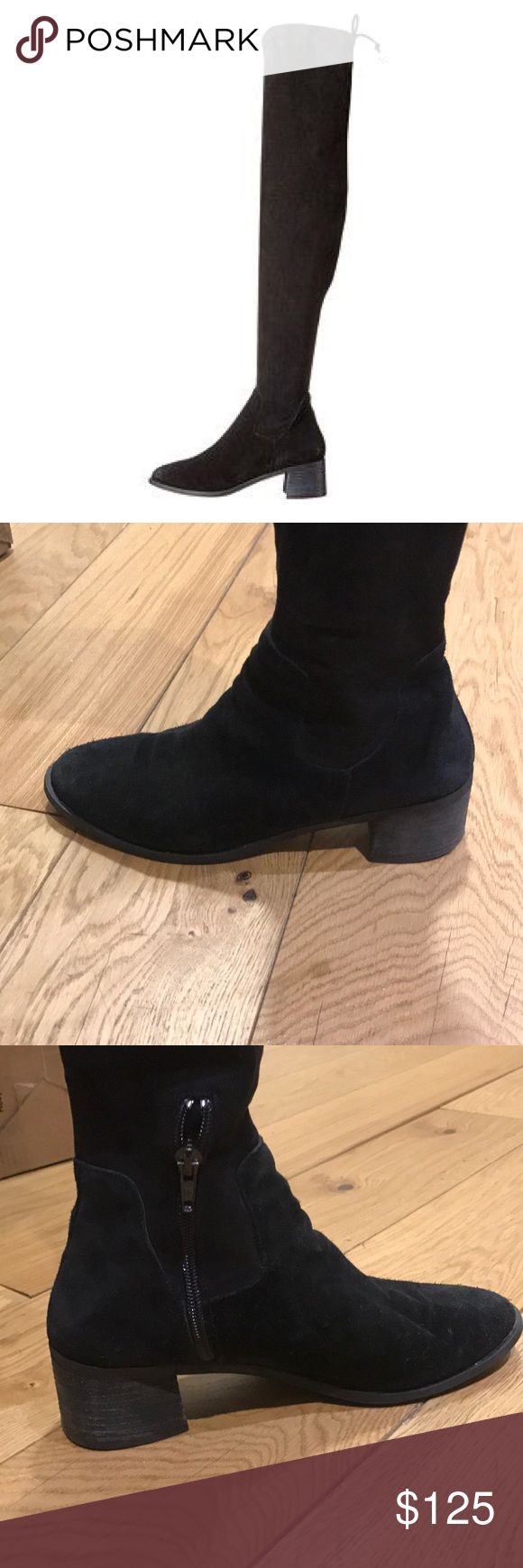 Free People Over Knee Boots Size 8. 1 year old - coast to coast Free People tall vegan suede boots. Looks great with leggings or jeans . Slight heel. Drawstring tie behind knee. Free People Shoes Over the Knee Boots