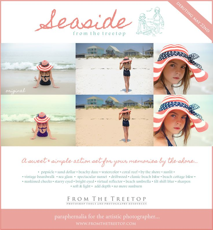 Seaside Actions will be perfect for the beach photos I just took!!Seaside Photos, Seaside Action, Photographymus Imagery, Treetop Photographymus, Action Sets, Photoshop Photography, Photography Ideashelp, Photography Stuff, Photos Editing