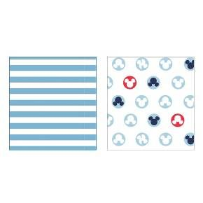 This convenient 2-pack of Mickey Mouse Crib Sheets coordinates with the charming Mickey Mouse Nursery Collection. These nursery crib sheets are made with 55 percent cotton and 45 percent polyester, so they will retain their form without shrinking. More importantly, these Disney Crib Sheets, which come in a 2 pack, are soft on the skin of your little one. These sheets are made to fit a standard crib mattress. To clean these Mickey Mouse Nursery Crib Sheets, simply machine wash cold and tumble…