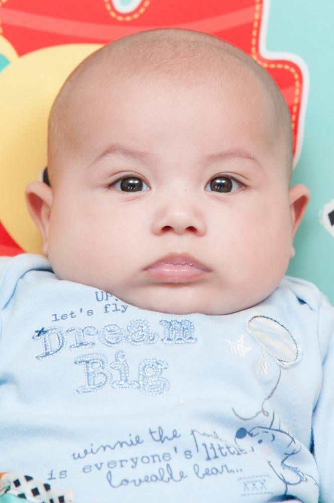 Roman Embling, 15 weeks, at home in Swindon, Wiltshire, England. March 20 2015. Embling fell ill after eating Aptamil milk.