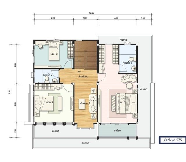 House Design Plan 12x9 5m With 4 Bedrooms Home Ideassearch Home Design Plans Small House Floor Plans House Plans