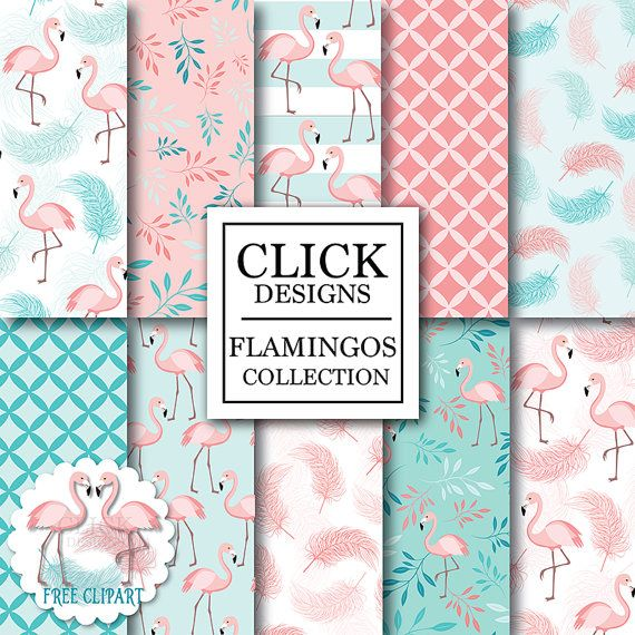 "Flamingo Digital Paper: ""FLAMINGOS"" birds in pink, teal, coral, feathers, leaves, flamingo clipart for baby shower, invitation, scrapbooking"