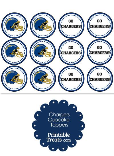 San Diego Chargers Cupcake Toppers from PrintableTreats.com