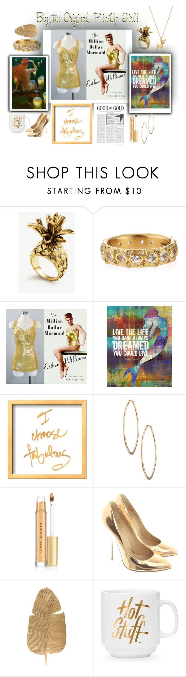 """""""good as gold, original Esther Williams gold!"""" by caroline-buster-brown ❤ liked on Polyvore featuring Ann Taylor, Armenta, Lydell NYC, Kevyn Aucoin, Giuseppe Zanotti, Kate Spade and metallicswimwear"""