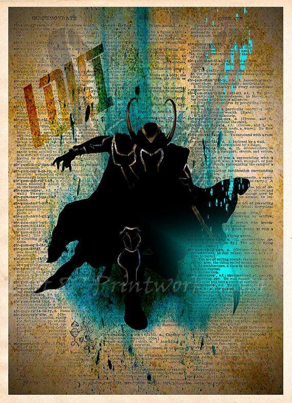 Loki The Avengers dictionary art print Super Hero by Loft817