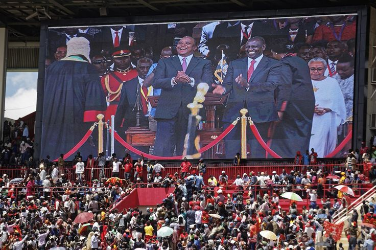 """Africa Edges Toward Adoption of Visa-Free Travel  Crowds watch as Kenyan President Uhuru Kenyatta center and Deputy President William Ruto center right appear on a video screen at his inauguration ceremony at Kasarani stadium in Nairobi Kenya. Citing the need to be """"more integrated"""" Kenyatta announced during his inauguration that the East African commercial hub will now give visas on arrival to all Africans. Ben Curtis / Associated Press  Skift Take: Borderless travel has been a dream across…"""