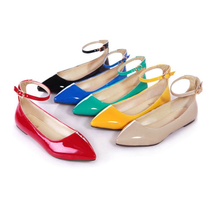 Oxfords Womens Flat Pointy Toe Ankle Strappy 6 Colors Ladies Shoes Pumps Us5-11