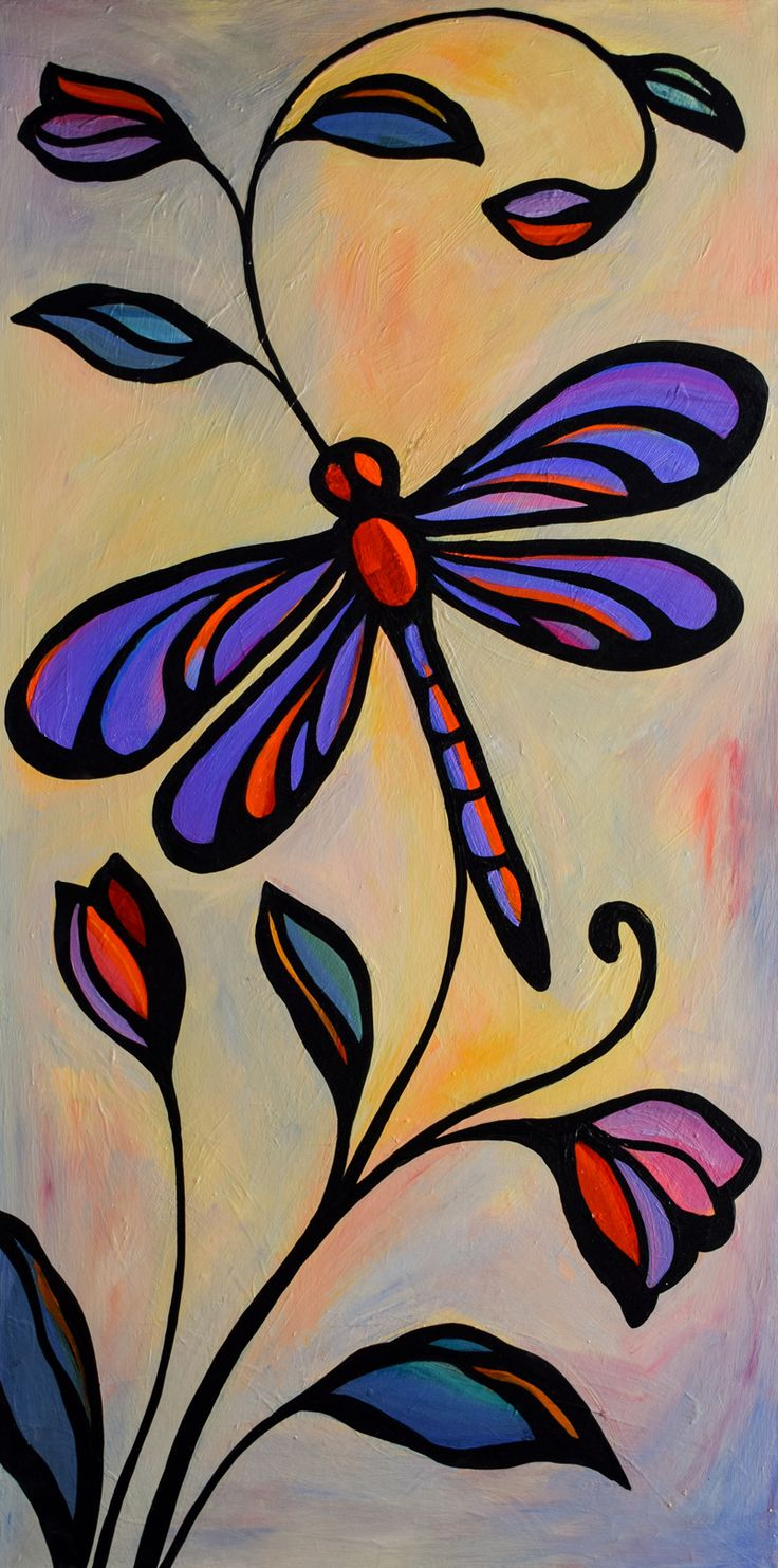 Original Acrylic Painting Abstract Dragonfly Insect Floral By Mike Daneshi In 2019 Acrylic