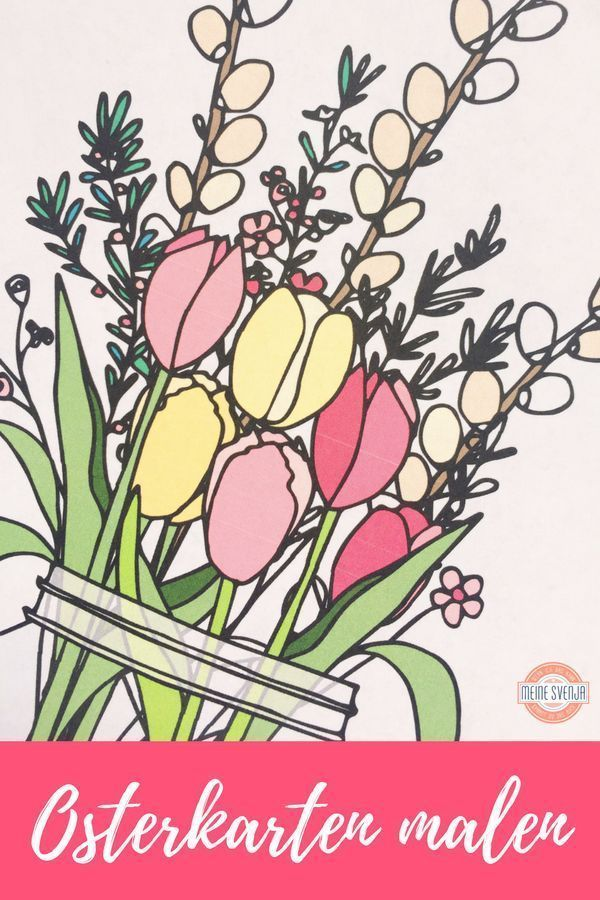 #ÖsterlichesBasteln-Osterkarten basteln mit Blumenmotiv – #basteln #Blumenmot…