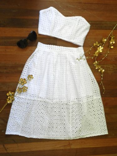 White Strapless Two Piece Set!! Shop it now @ http://www.ebay.com.au/itm/White-Strapless-Crop-and-Skirt-Set-by-Ava-/161618186342