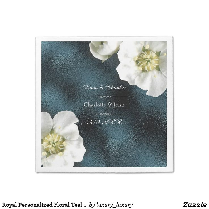 Royal Personalized Floral Teal Gray Glass Wedding Disposable Napkin