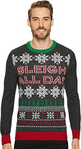d9eeb91c42 Travis Mathew Men's Sleigh All Day Black Ugly Christmas Sweater ...