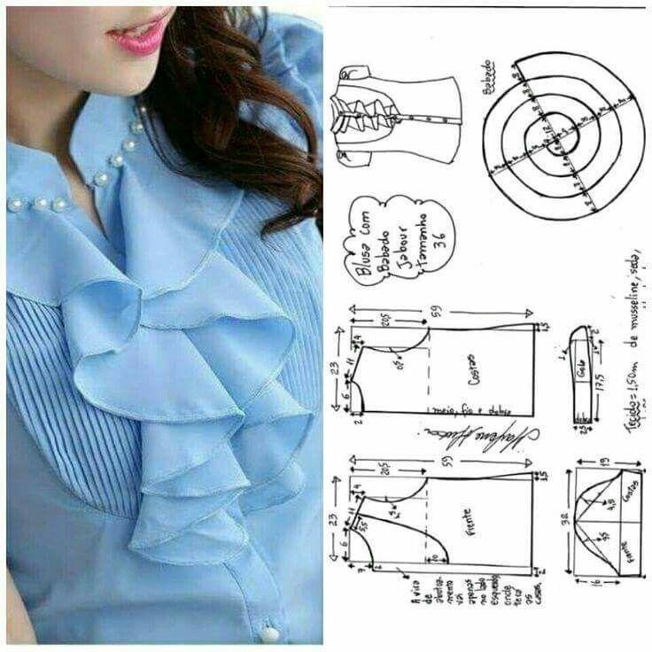 Blue ruffled blouse pattern.