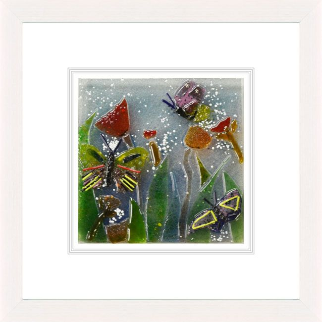 'Summer Blooms ll' by Natasha McCullough. This piece has been hand crafted, fused & framed by Spires Art in Omagh. Available in size 24in X 24in.