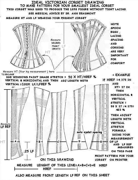 1898 corset pattern for your smallest ideal corset without tight lacing.    From here: http://www.staylace.com/gallery/gallery07/index.html      Note that the commentary on the website is of dubious accuracy.