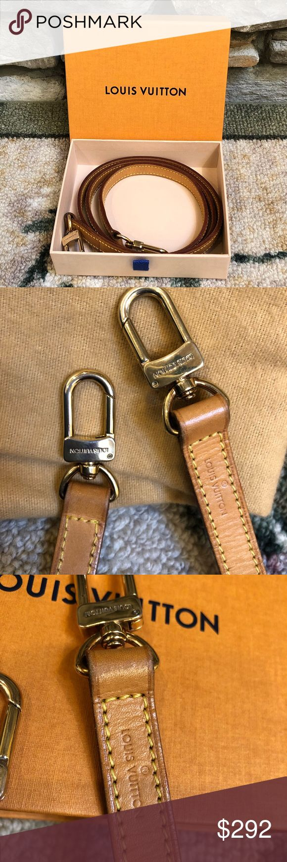 Authentic Louis Vuitton Bag Strap 100% Authentic Louis Vuitton Bag Strap  Preloved  Vachetta leather  43 inches long or 111 cm x 1.5 cm dia. Very Good Condition  No cracks  No Damage  No watermark Ready to use Gold Hardware  With Box Louis Vuitton Bags