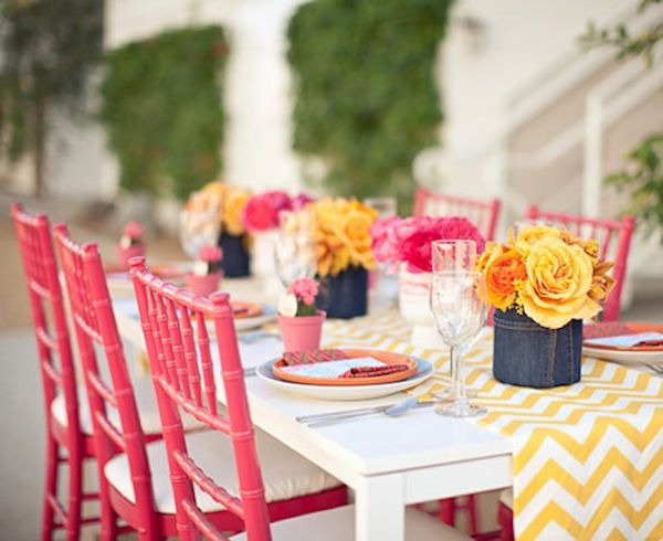 coral chevron pattern party table