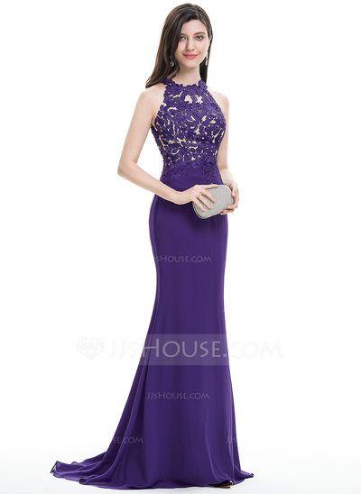 [US$ 136.69] Trumpet/Mermaid Scoop Neck Sweep Train Chiffon Prom Dress (018112484)