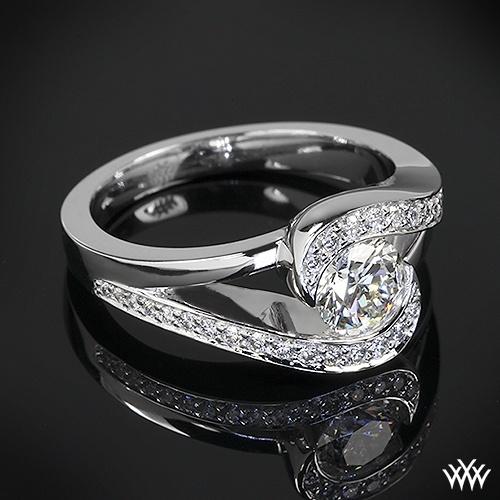 Custom Half Bezel Diamond Engagement Ring Is Set In 18k White Gold And Holds 0 30ctw
