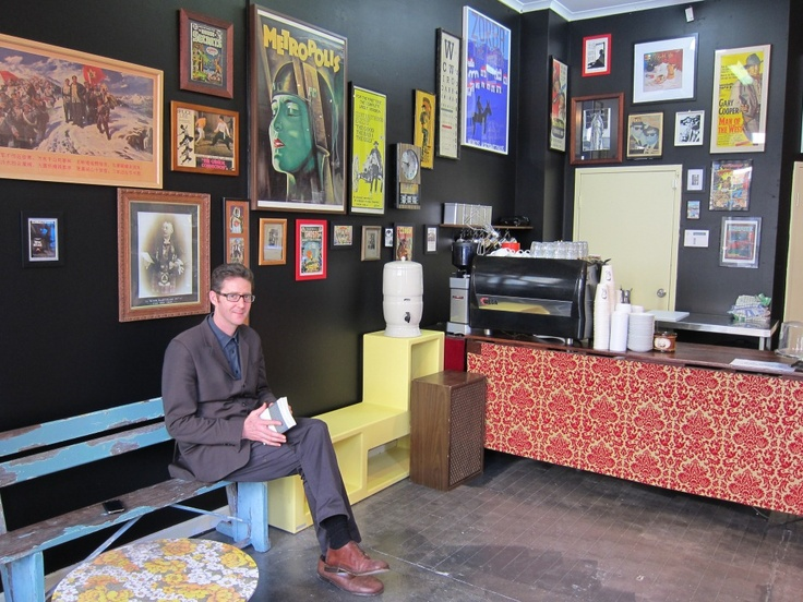 A Beautiful City - Blog.  James Calligar in New Edition Bookshop's new espresso bar - Grumpy Sailor