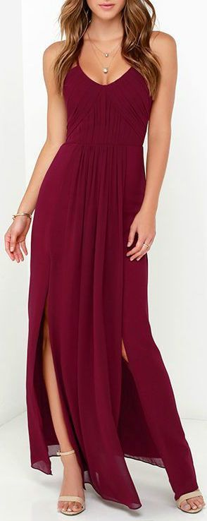 Burgundy Split Maxi Dress ❤︎