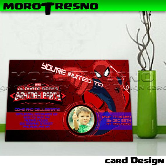 Ultimate Spiderman Birthday Invitation copy- Invitation Card