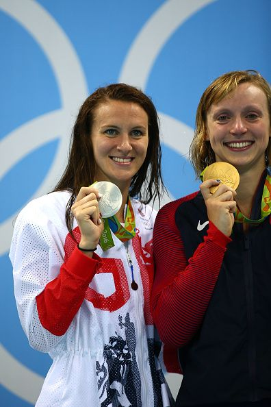Sivler medalist Jazz Carlin of Great Britain and gold medalist Katie Ledecky of…