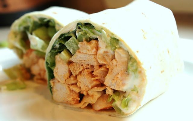 Buffalo chicken wraps ***I substituted frozen buffalo chicken tenders (already had them) and ranch dressing instead of blue cheese and they were really yummy!***