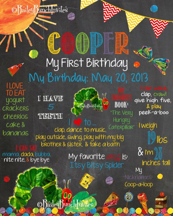 The Very Hungry Caterpillar Birthday Chalkboard Poster - Party Accessories on Etsy, £15.35