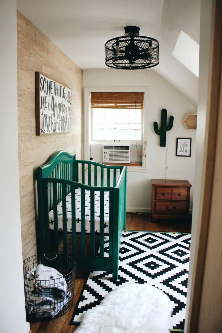 Cactus Themed Boy S Nursery In Black And White With Emerald Green Crib Ikea Rug And Wood Accent Gender Neutral Baby Nursery Baby Boy Nurseries Nursery Themes