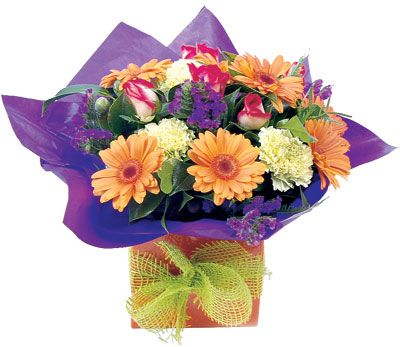 """Mini Boxed Arrangement  """"Sweet"""". - A dainty yet striking arrangement typically including gerberas, carnations, roses and statice, presented in a colourful box with pretty bow.  thank you #flower"""