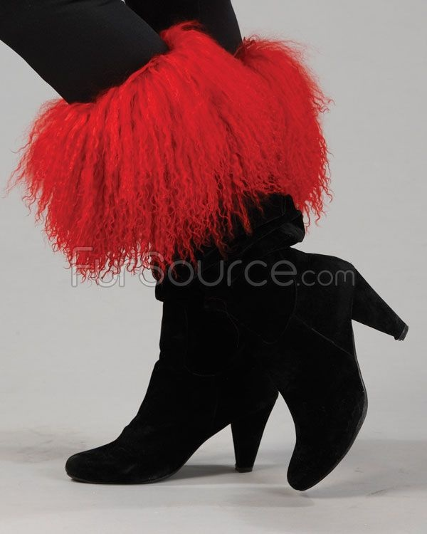 Boot Toppers - Red Mongolian Lamb Fur