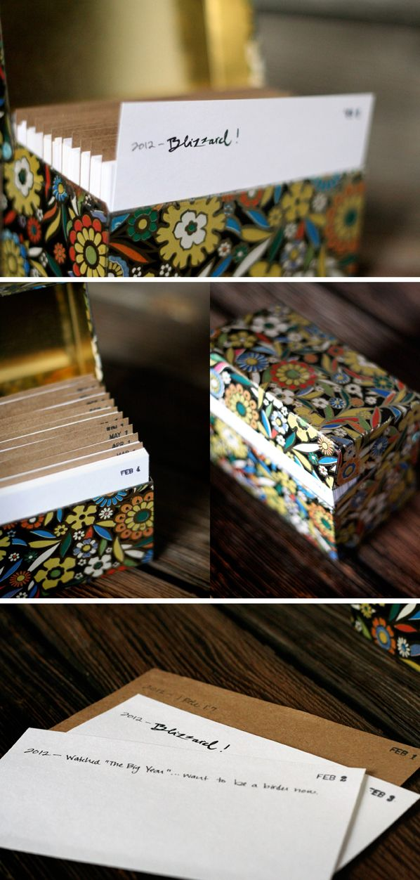 Recipe box journal -- Love this! one date per card... each day: one memory, no more than one line... then the following year, add another line and so forth... how cool this will be in a few years... and memories to share with others as well. :)