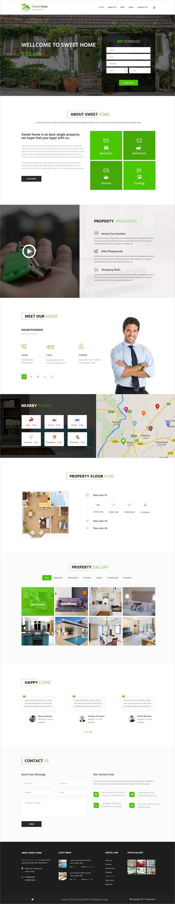 Sweet home is clean and modern design #PSD template for single #property and real estate agencies #website with 15 layered PSD files download now..