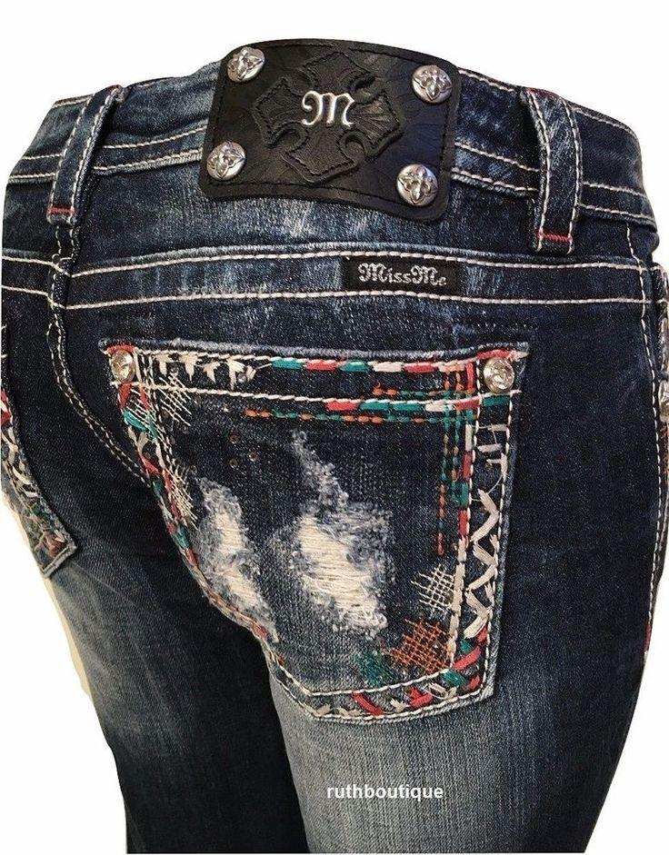 Miss Me Size 28, Boot Cut JV8275B Aztec Stitching NWT #MissMe #BootCut