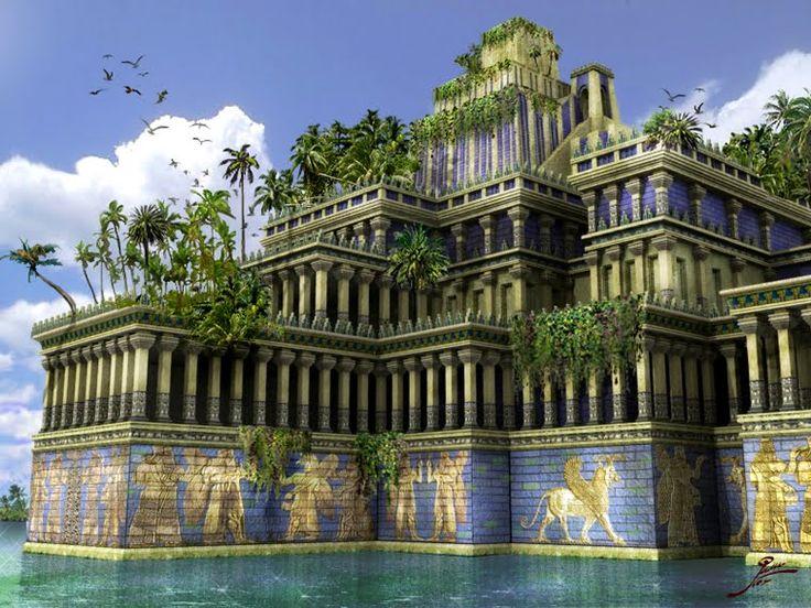 Jardinas Colgantes de Babilonia, en la actual Irak. Fueron contruidos cerca del 605 a.C. y fue destruida por los persas por el 126 a.C.  Una de las 7 Maravillas del Mundo Antiguo.