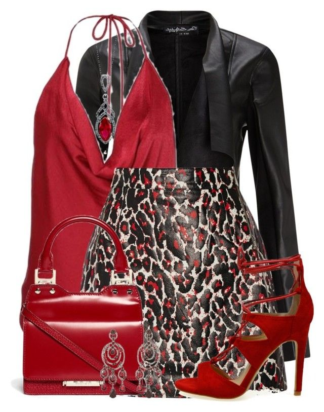 """Sexy in Red"" by jennifernoriega ❤ liked on Polyvore featuring Miss Selfridge, McQ by Alexander McQueen, Jimmy Choo, BERRICLE and Oscar de la Renta"