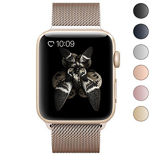 BRG for Apple Watch Band Stainless Steel Mesh Milanese Loop with Adjustable Magnetic Closure Replacement Metal iWatch Band for Watch Series 2 1 38mm Gold
