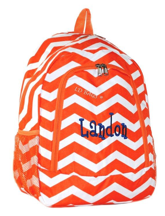 Chevron Backpack School Bag Orange with Free by MonogramExpress