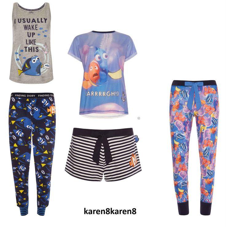 DISNEY PIXAR FINDING NEMO DORY Ladies Pyjamas T Shirt Vest Leggings Primark