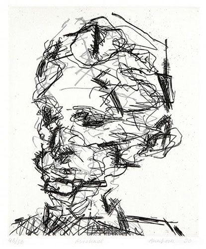 Frank Auerbach ~ Michael, 1990 (etching)  www.artexperiencenyc.com