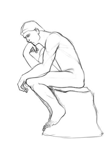 The Thinker Statue by Auguste Rodin Coloring page