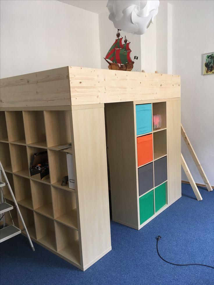 Hochbett Ikea Kallax DIY   Ikea diy, Ikea bett