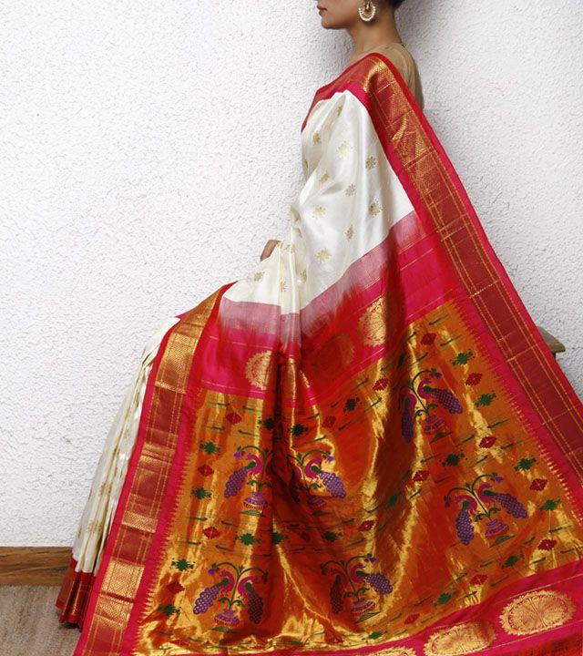 White Paithani Silk Saree