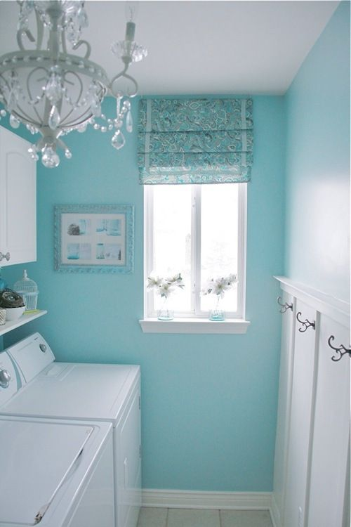 Tiffany blue laundry room! Love these colors, so peaceful! Not sure about the chandler though, too fancy for a laundry room I think...