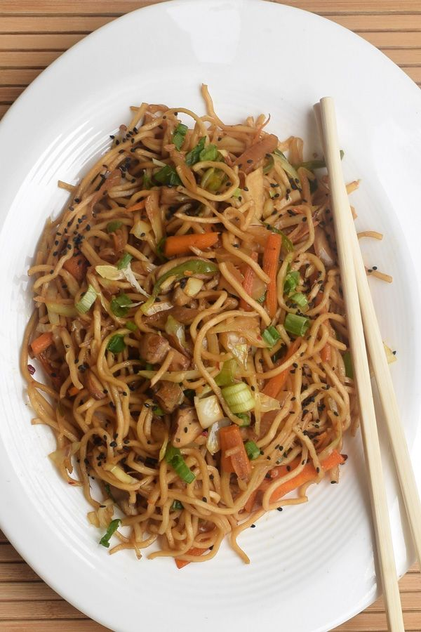 Vegetarian Chow Mein Recipe ! Super easy to make and taste amazing, veg Chow Mein is a vegetarian take on this famous Chinese dish. This dish has many variations across the globe including our own spicy Chow Mein that has become an integral part of Indian street food.  I have tried to keep the recipe very close to the basic Chinese one, by removing nonvegetarian ingredients. Do try, posted step by step recipe with pictures at http://www.vegetariansdelight.com/chow-mein/