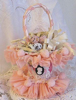 I remember May Day and leaving May baskets on by someone's door. This reminds me of this, but mine were made of construction paper and filled with popcorn and candy.  This one would look nice on a table.